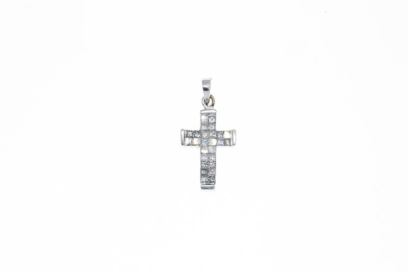 ODI Invisible Set Princess Diamond Pave Cross Charm 14K 585 White Gold Pendant