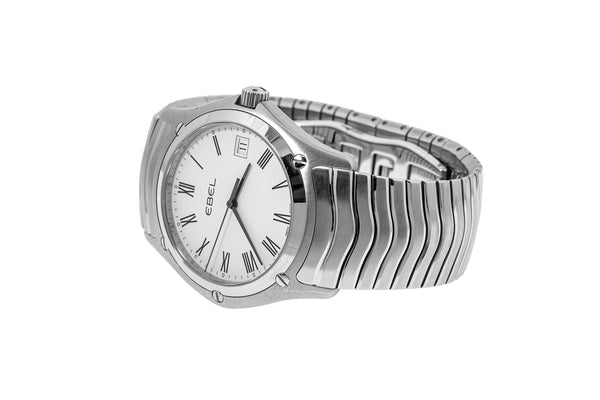 Ebel 9255F41 Classic Wave 37mm Roman Numeral White Dial Stainless Steel Watch