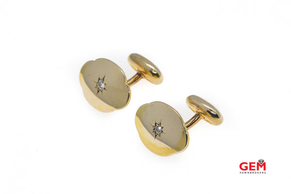 14 KT Yellow Gold Mens Diamond French Cuff Tuxedo Cufflinks