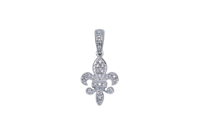 Diamond Pave Milgrain Fleur De Lis Drop Charm 14K 585 White Gold Dangle Pendant