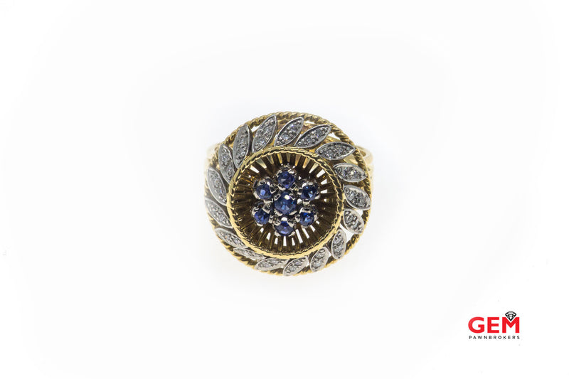 CB Sapphire & Diamond Accent Cocktail 18K 750 Yellow & White Gold Ring Sz 6 1/2