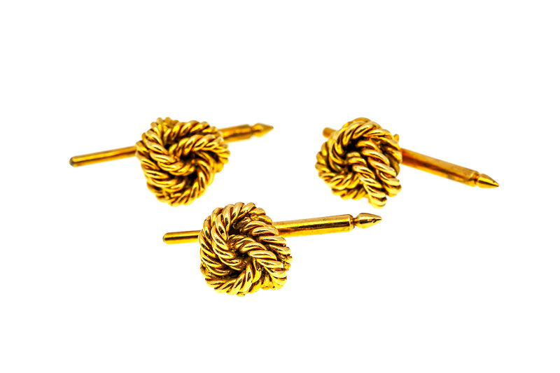 Vintage Tiffany & Co France Twisted Knot 18K 750 Yellow Gold Tuxedo Set Cufflink & Buttons