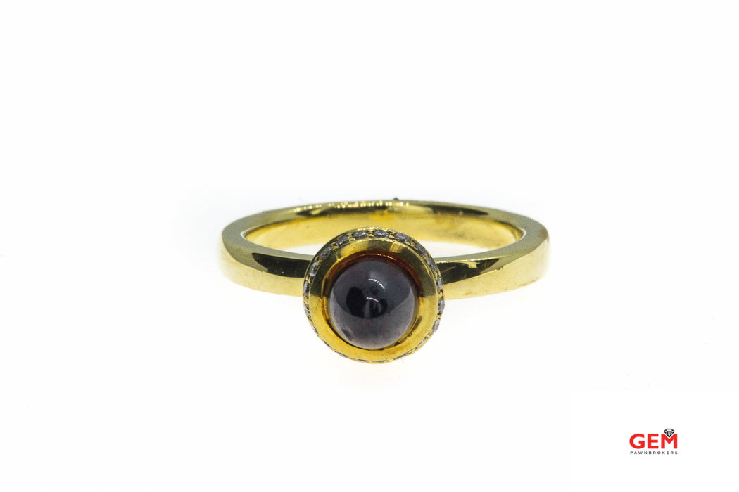 CP Cabochon Almandine Garnet & Diamond Halo 18K 750 Yellow Gold Ring Size 6