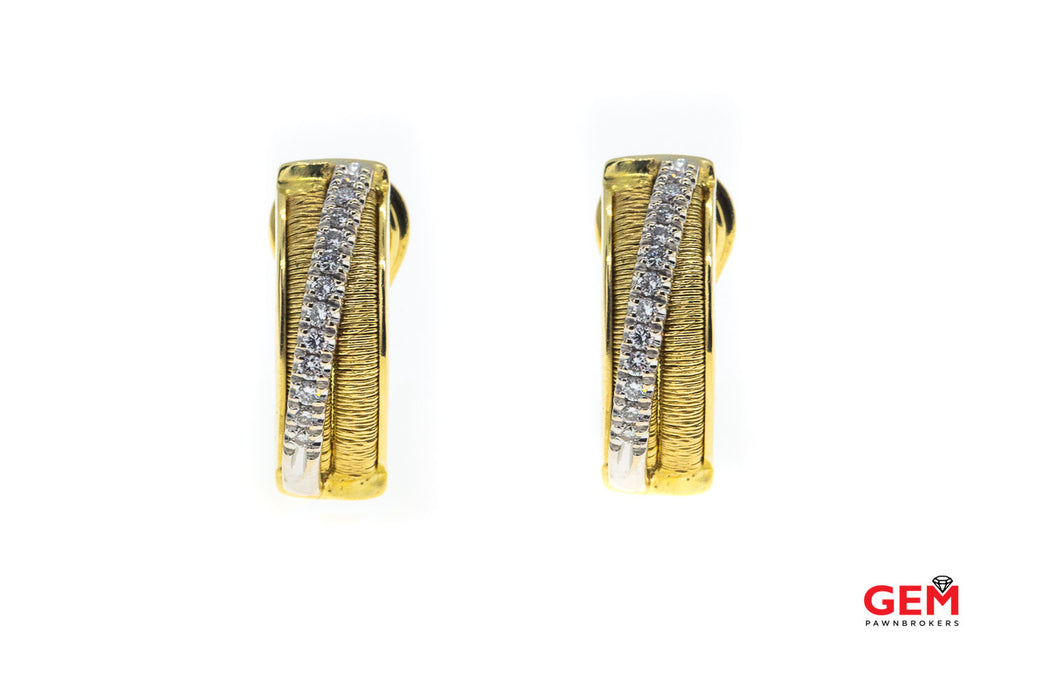 Marco Bicego 18k 750 Two Tone Diamond Pave Crossover Huggie Earrings