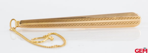 Vintage 18k 750 Yellow Gold Textured Tie Bar Clip Estate Button Chain 30 VI Italy