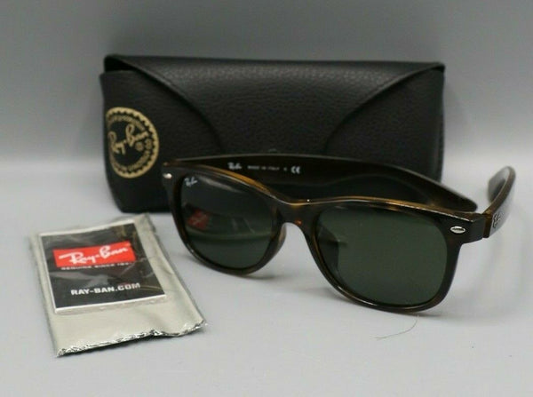 Ray Ban RB2132 902L 55 New Wayfarer Brown Tortoise Sunglasses w/Green Lenses
