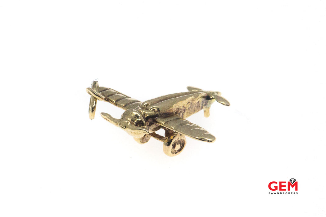 Morane Saulnier WWI Aircraft Fighter Plane Single Seat Charm Solid 14K 585 Yellow Gold Pendant