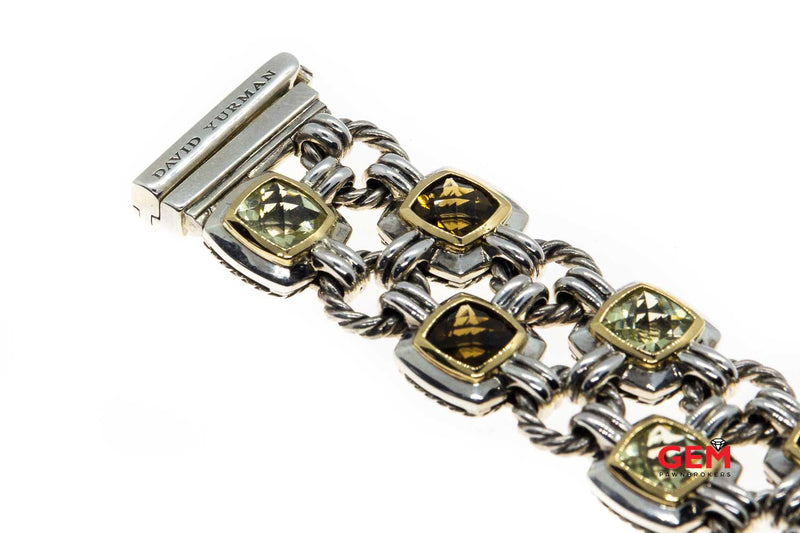 David Yurman Prasiolite & Quartz Renaissance Two Row 925 Sterling Silver & 18K 750 Cable Bracelet