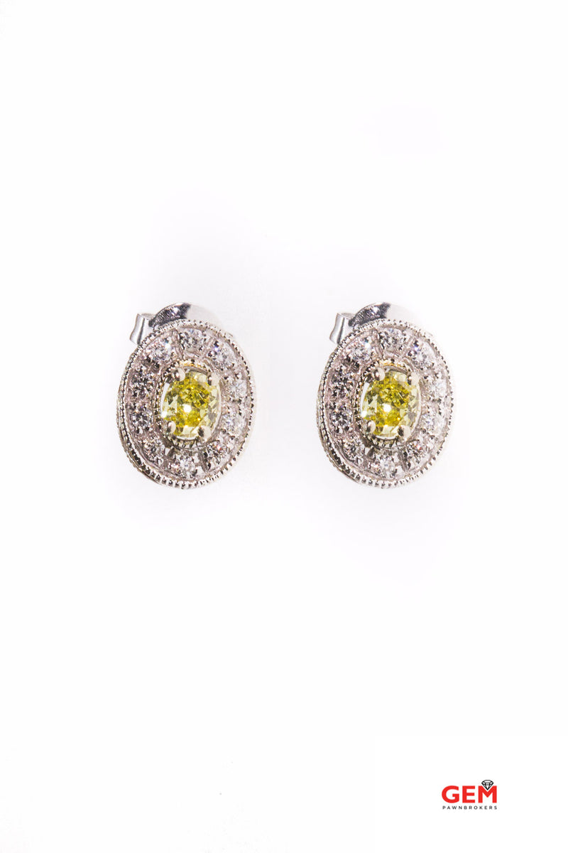 Nissko Yellow Diamond Milgrain Halo Accent 585 White Gold Carved Pair Earrings