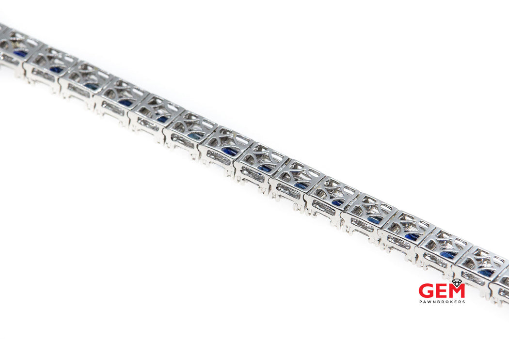 Diamond & Princess Sapphire Tennis Cocktail Cluster 18K 750 White Gold Bracelet