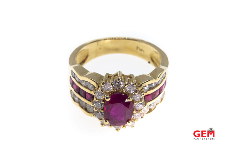 Natural Oval Ruby & Diamond Halo Accent Band Solid 14K 585 Yellow Gold Ring Size 7 1/4