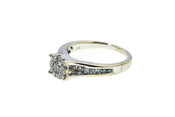 Unique Designs Diamond Cluster Engagement Band 14K 585 White Gold Ring Size 7