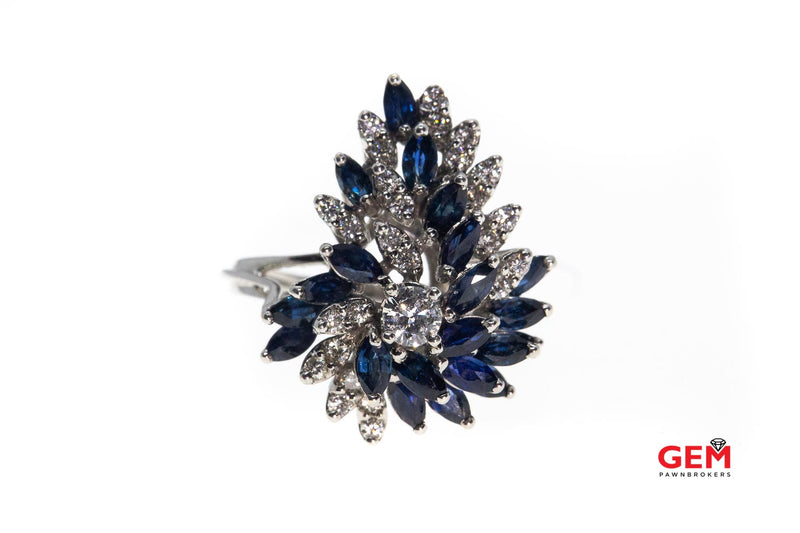 Vintage Marquise Sapphire & Diamond Cocktail 14K 585 White Gold Cluster Ring Size 9