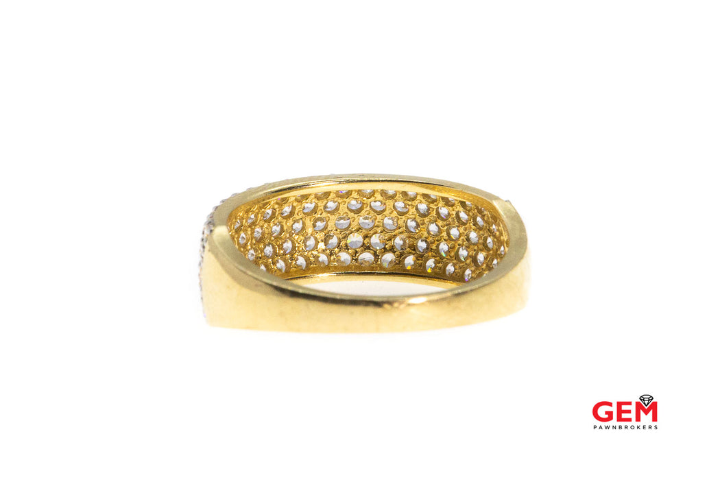 Cubic Zirconia Wide Band Cluster Ring 14Kt Yellow Gold 585