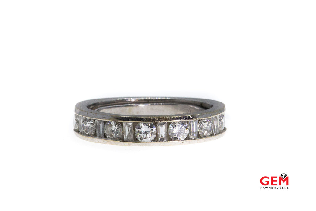 Baguette & Round Diamond Channel Set Band 14K 585 White Gold Ring Size 5