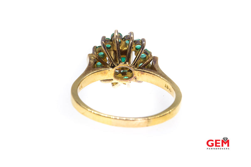 Antique Natural Emerald & Halo Accent Cluster 18K 750 Yellow Gold Ring Size 7 1/2