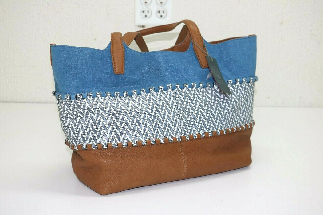 Vince Camuto: Edena Multicolor Leather Tote - Blue/Saddle Brown
