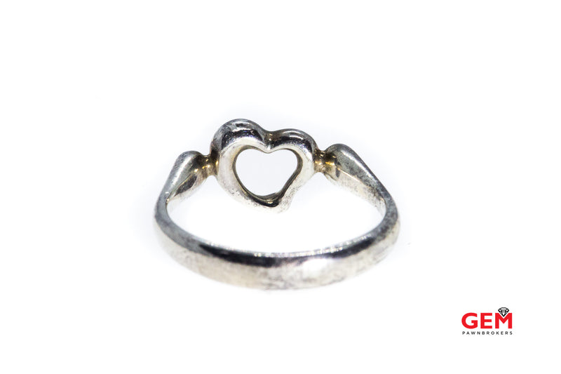 Tiffany & Co.  Elsa Peretti Open Hearts 925 Sterling Silver Ring Size 6 3/4