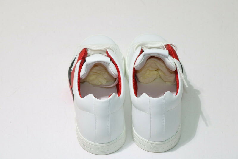 Fendi White & Red Leather 'Bag Bugs' Colorblock Sneakers Men's Size 7