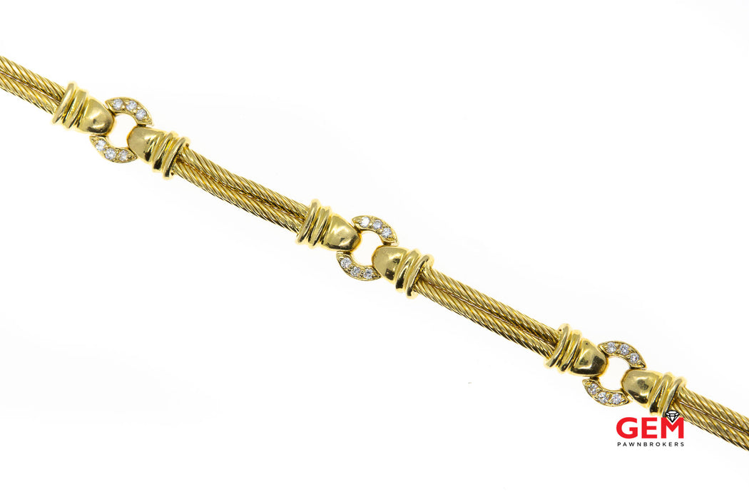 "Philippe Charriol Diamond Station Cable 18K 750 Yellow Gold 7"" Bracelet"