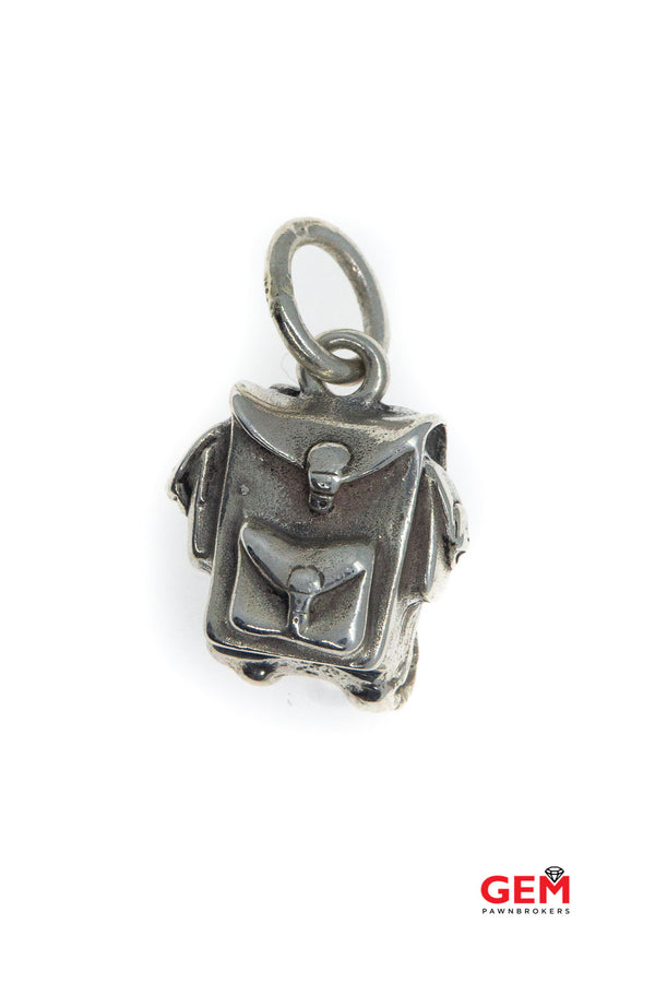 Ambrosi Cellini Knapsack Canvas Backpack Book Bag Charm Solid 925 Sterling Silver Designer Pendant