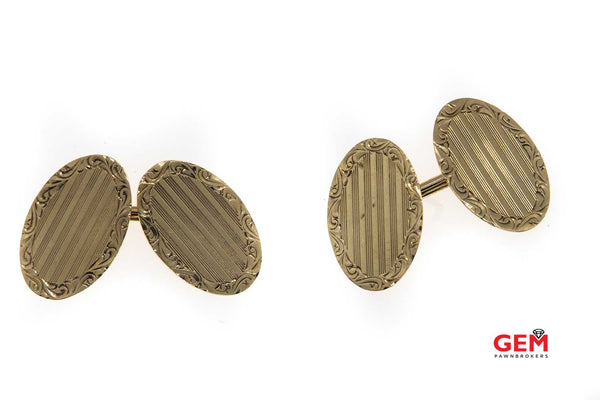Antique Victorian 10k 417 Yellow Gold Scroll Motif Cufflinks