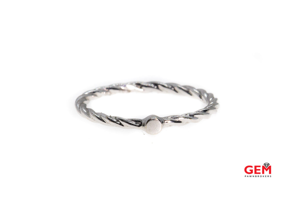 Twisted Thin Stackable Band Solid 14K 585 White Gold Ring Size 7
