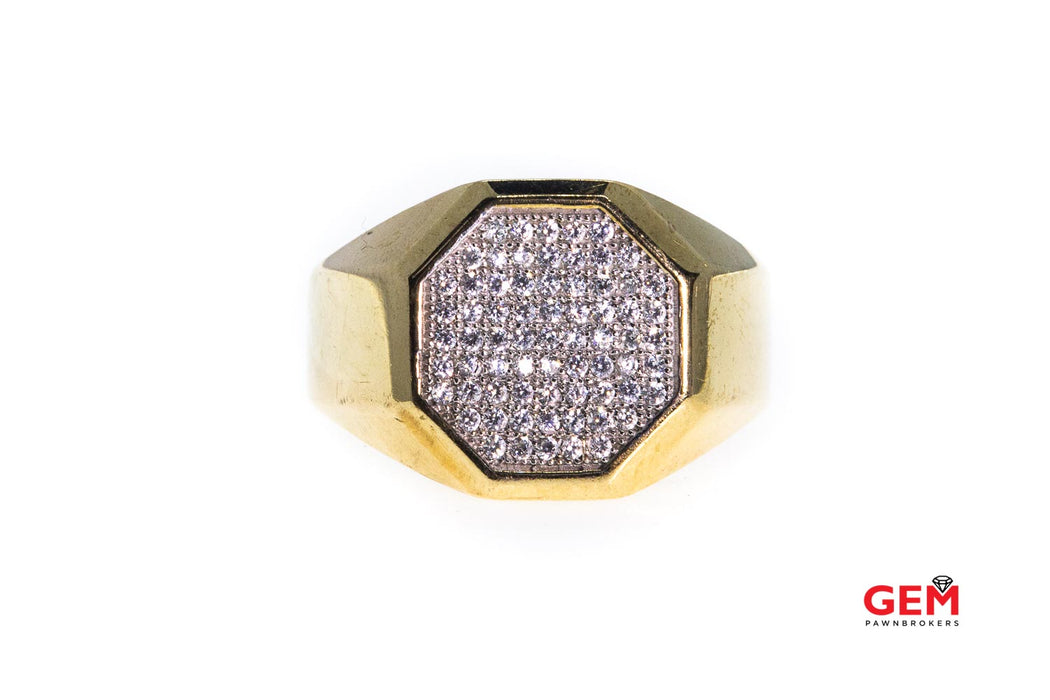 Cubic Zirconia Cluster Hexagon Signet 10K 417 Yellow Gold Ring Size 10