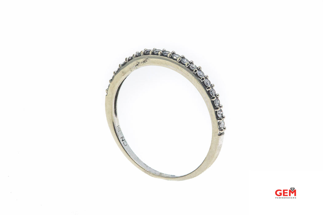 Half Eternity 2mm Stackable Diamond Band 10K 417 White Gold Ring Size 8
