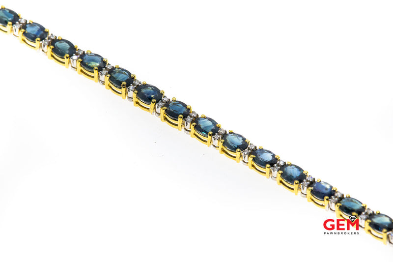 Blue Oval Sapphire & Diamond Tennis 18K 750 Gold Bracelet