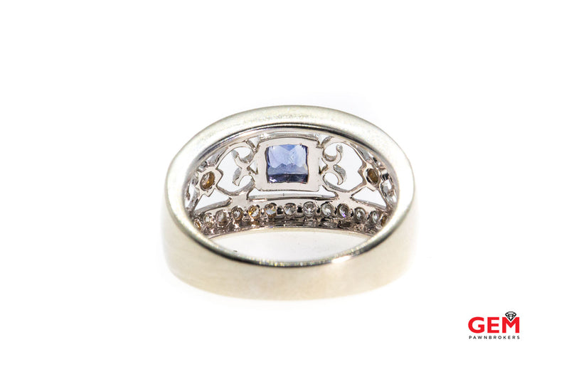 Princess Tanzanite & Round Diamond Milgrain Accent Hearts 14K 585 White Gold Ring Size 6 1/2