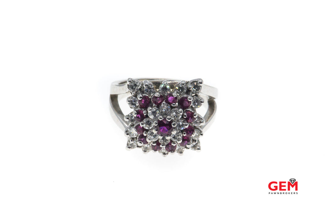 Vintage Diamond & Pink Sapphire Geometric Cluster 14K 585 White Gold Cocktail Ring Size 5 1/2