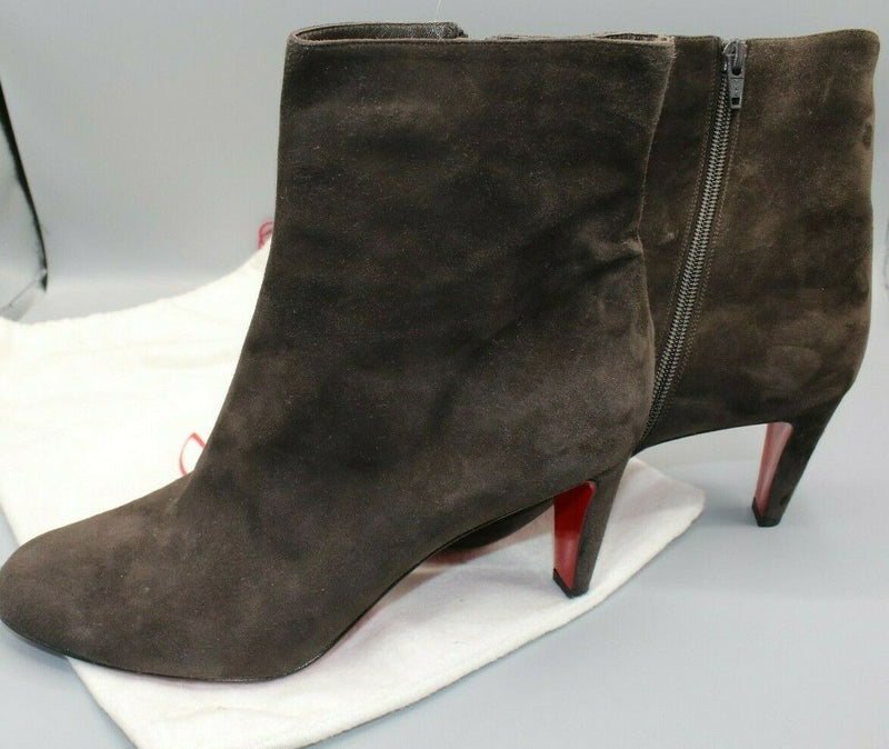 Christian Louboutin Chocolate Brown Suede Side Zip Ankle Booty Heel 41.5/11
