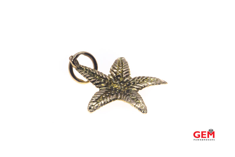 Textured Royal Starfish Charm 10K 417 Yellow Gold Animal Pendant