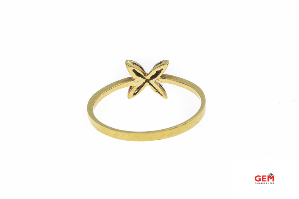 Cubic Zirconia X Flower Band 14K 585 Yellow Gold CZ Ring Size 6 3/4