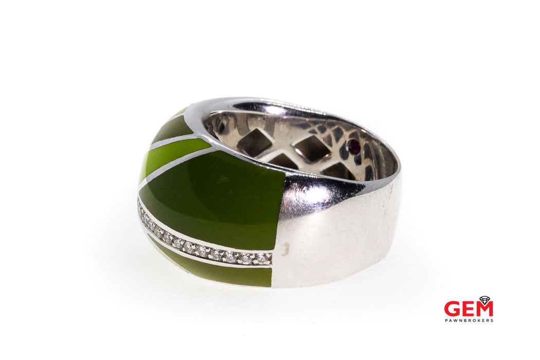 Roberto Coin Bombe Diamond & Green Enamel 18K 750 White Gold Ring Size 6 1/2