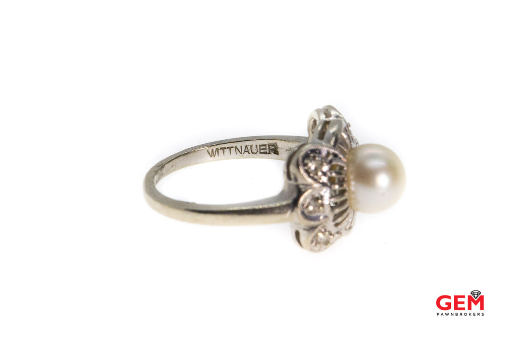 Wittnauer 14 KT White Gold Pearl Diamond Ring