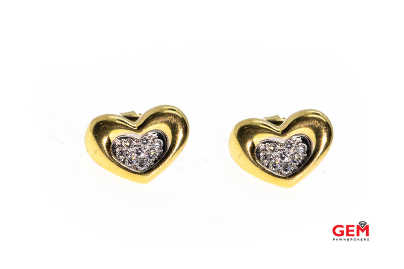 Movado Puff Heart Diamond Pave Studs 18K Yellow & White Gold Pair Earrings