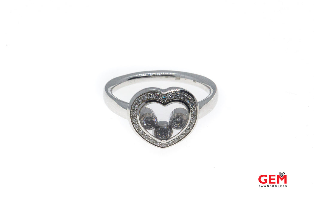 Chopard Happy Floating Diamond Heart White Gold 750 18k Ring Size 6