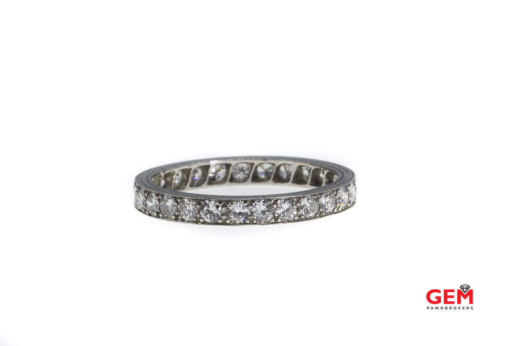 Antique Art Deco Diamond Eternity Band Platinum Ring Size 7 1/4