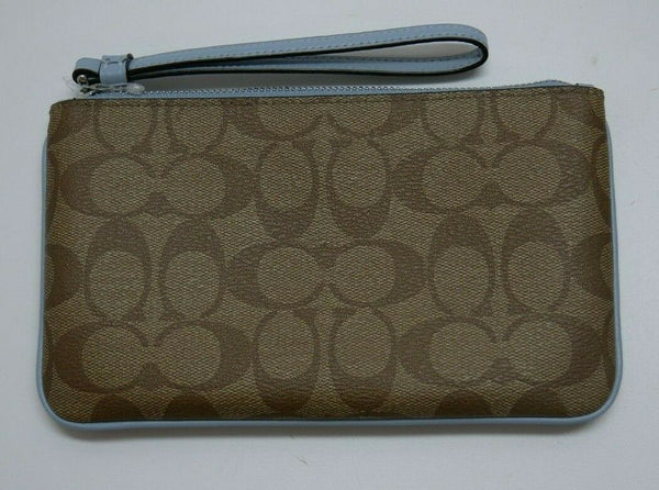COACH Wristlet In Signature Canvas Wallet Khaki/Blue F58695