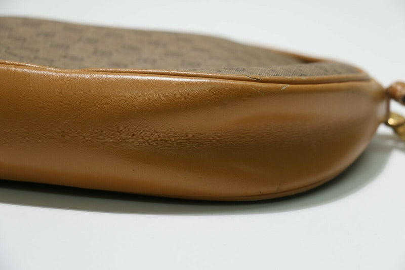Gucci: Vintage GG Oval Crossbody Bag - Brown Leather/Beige Fabric