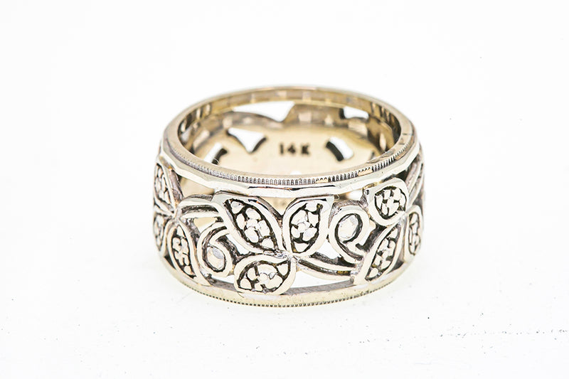 Milgrain Accent Floral Filigree 10mm Wide Band 14K 585 White Gold Ring Sz 6 3/4