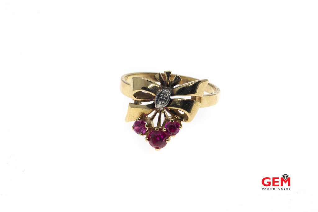 Retro Natural Pink Sapphire & Diamond Bow Flower 14K 585 Yellow Gold Ring Size 8 1/4