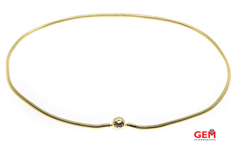 "Pandora ALE Moments 3mm Snake Chain 14K 585 Yellow Gold Bead 17.8"" Necklace"