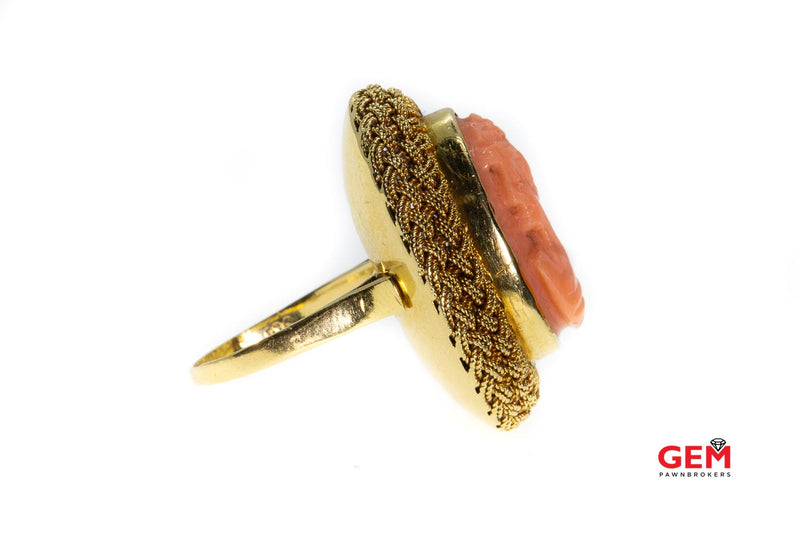 Antique Coral 18k 750 Yellow Gold Pink Coral Cameo Ring Size 5