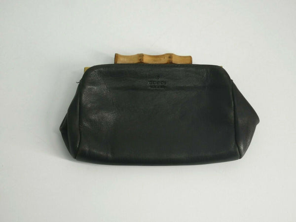 Gucci Black Coin Purse Leather Bamboo Pouch 108647-0416
