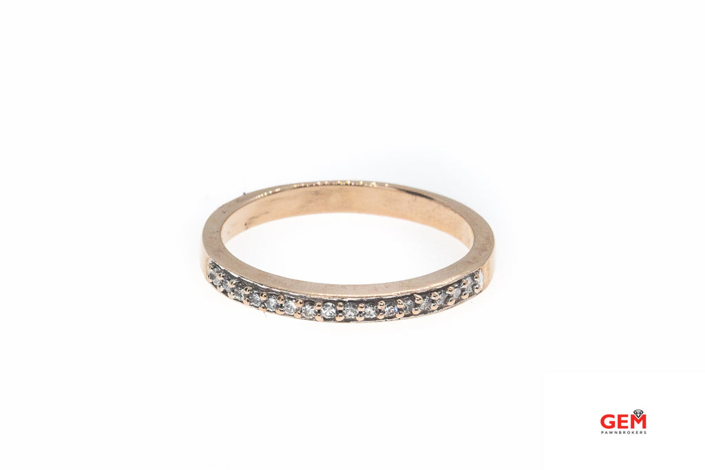 Pave Diamond Half Eternity Stackable Band 10K 417 Rose Gold Ring Size 6 3/4