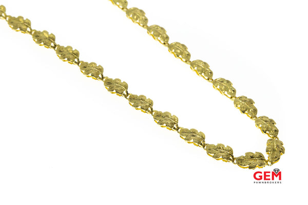 "Simone Bandini 8mm Leaf Link Brushed Finish Stampato Necklace 18K 750 Yellow Gold 17"" Chain"