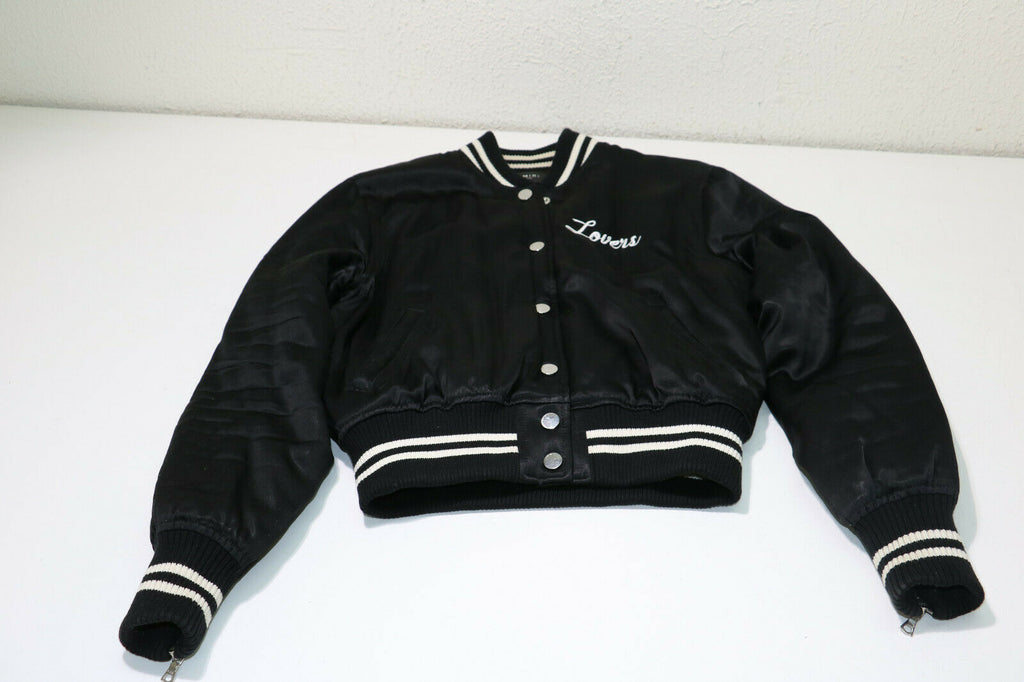 AMIRI Lovers Embroidered Satin Bomber Jacket in Black Size Small